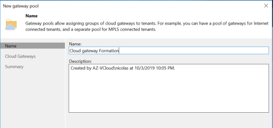 Enter the name of the Veeam Cloud Gateway Pool