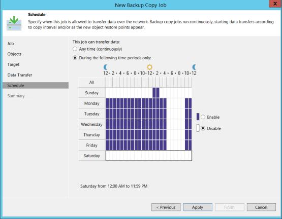Configure schedule on veeam console