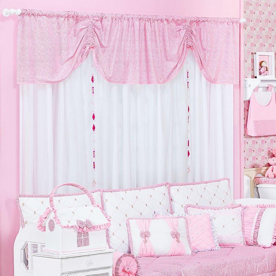 Cortina Botes Para Quarto de Beb Menina Branco  Rosa  Essencial Enxovais