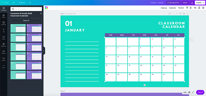 Calendrier imprimable Canva