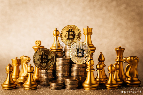 chess pieces and bitcoin