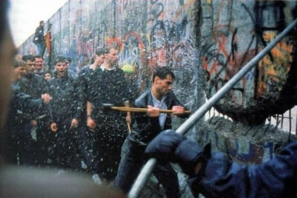 Berlin Wall coming down
