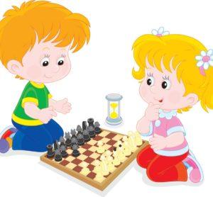 kids playing chess - cartoon