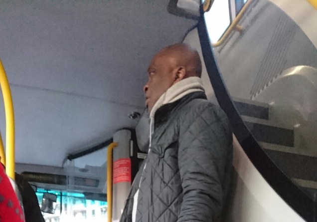 """7:47am 9th April, 344 Bus - boarded inbetween Battersea and Vauxhall, talked on his phone, said """"we got her address"""", he has stalked me before."""