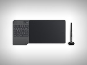 Inspiroy Keydial KD200, a graphics tablet that combines a keyboard and a selection controller