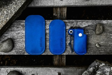 WESN x Bellwether Supply: an elegant Cobalt Blue leather sheath for your EDC knife