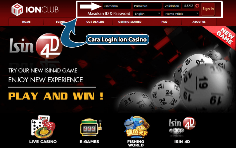 cara login ion casino