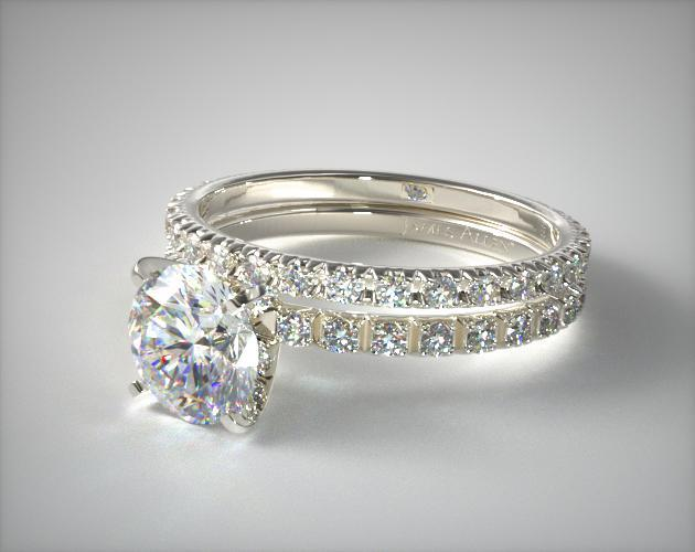 Thin French Cut Pave 20 Diamond Wedding Set