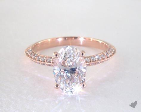 203 Carat Oval Cut Pave Engagement Ring in 14K Rose Gold