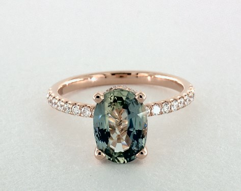 254 Carat Green Sapphire Oval Cut Pave Engagement Ring In