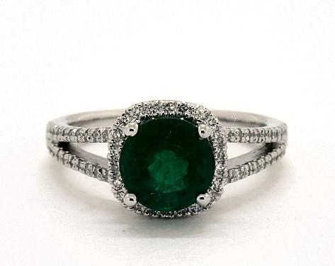 155 Carat Green Emerald Round Cut Halo Engagement Ring In