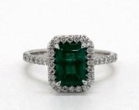 1.37 Carat Green Emerald Emerald Cut Halo Engagement Ring ...
