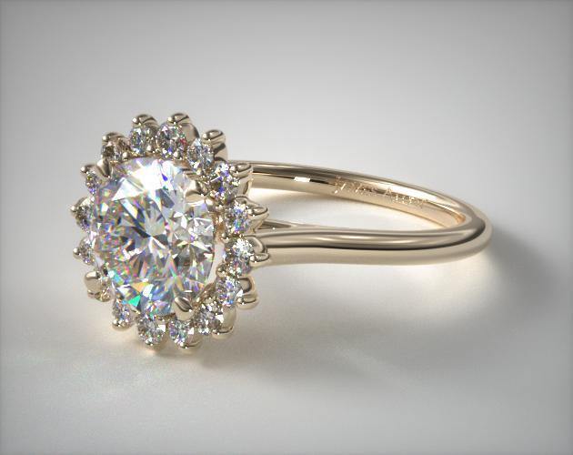 engagement rings unique 14k yellow gold diamond pave sunburst engagement ring item 51223