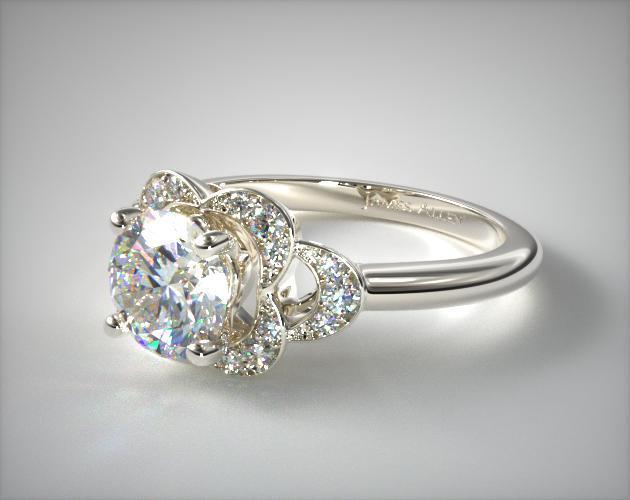 Art Deco Inspired Flower Halo Engagement Ring