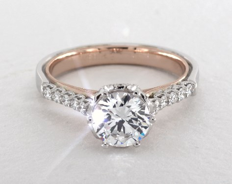 Verragio Classic Engagement Ring 14K White Gold And Rose