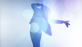 A silhouette of Michael Jackson against a blue background