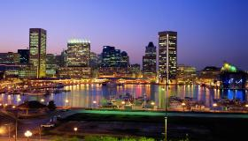 USA, Maryland, Baltimore skyline at night