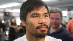 World champion boxer Manny Pacquiao open workout before Bradley fight.