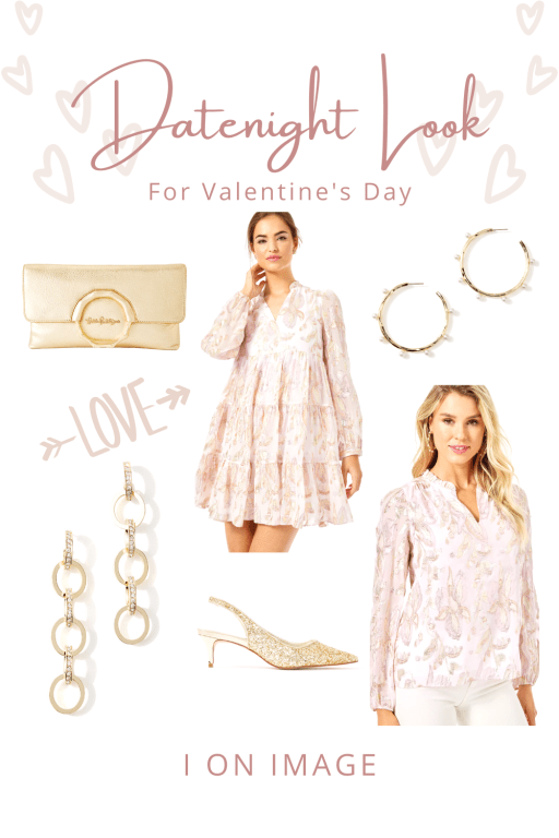 Celebrating Valentine's Day At Home in Gold and blush pink datenight look by Lilly Pulitzer