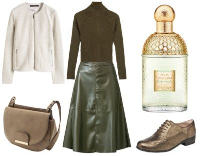 3. How To Wear Green To Work: Green + Sophisticated Beige
