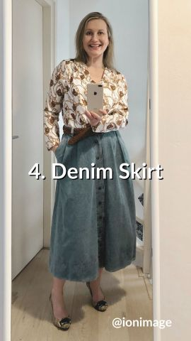 Wearing a printed shirt with a denim skirt