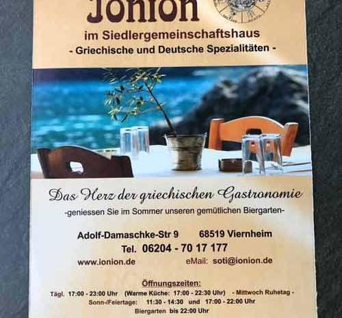 Neue Flyer – griechisches Restaurant Ionion neu in Viernheim