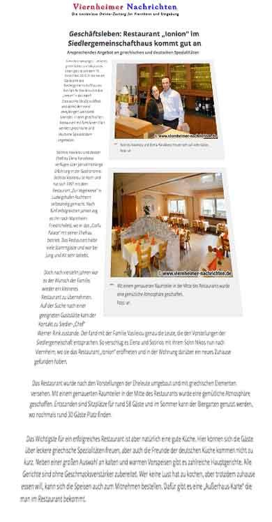 """Geschäftsleben: Restaurant """"Ionion"""" im Siedlergemeinschafthaus"""