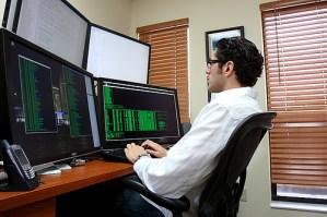 Computer desk working man