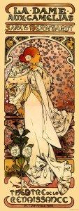 Cartel de Mucha para el estreno de la  Bernhardt en La Dame aux Camelias