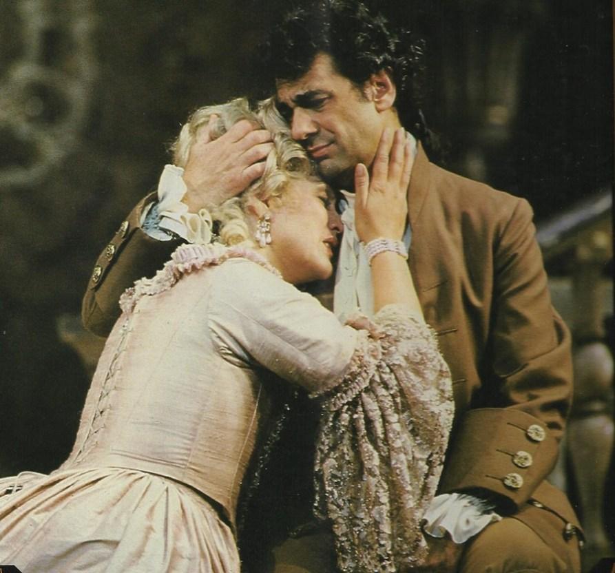 Kiri Te Kanawa y Plácido Domingo como Manon y Des Grieux