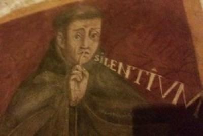 Le forme del silenzio e della parola, Il silenzio e la parola da Eckhart a Jab, Silvano Zucal, Silenzio di Dio, silenzio dell'uomo, Massimo Baldini, Elogio del silenzio e della parola, I guardiani della voce, Roberto Mancini, Laura del prà, arpocrate, ermete trismegisto, figura del silenzio, allegoria del silenzio, arte del silenzio, figurazione del silenzio, tacere, virtù del silenzio, san pietro martire ingiunge di tacere, arte silenzio, arte tacere, silenzio, storia del silenzio, De Iside et Osiride, plutarco, epoché, silenzio e parola, rumore, signum arpocraticum, dio silenzio, Fussli, Giovanni da san Giovanni, Badia Fiesolana, Sala Vecchia degli Svizzeri, Ermes, Corpus Hermeticus, Sala da pranzo degli Anziani, Marsilio Ficino, Pico della Mirandola, ritratto dell'arcobaleno, vincenzo cartari, Cesare Ripa, Benozzo Gozzoli, pierio valeriano, Il silenzio nel chiostro, Greccio (Rieti)