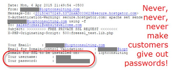 Email form submission from Host Gator showing exposed account ID and password.
