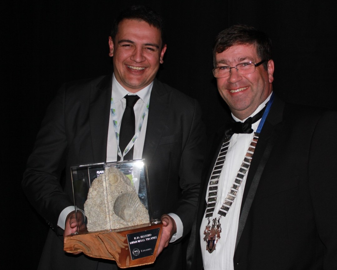 Rob Smith, Northern Operations Manager for Winstone Aggregates with IOQNZ President, Gordon Laing