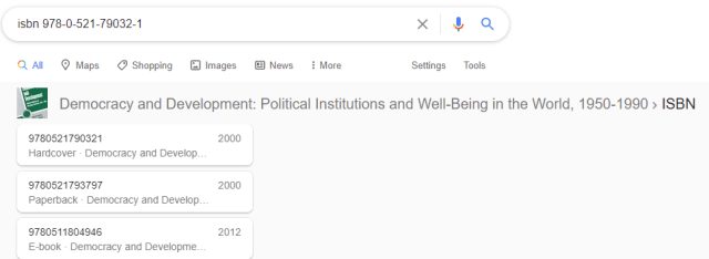 A screenshot of Google Search showing the results for the ISBN of 'Democracy and DEvelopment' by Przeworski et. al. The image shows how Google resolves the bibliographical information of ISBNs.