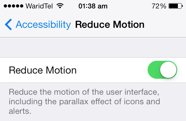 reduce motion settings iOS 7