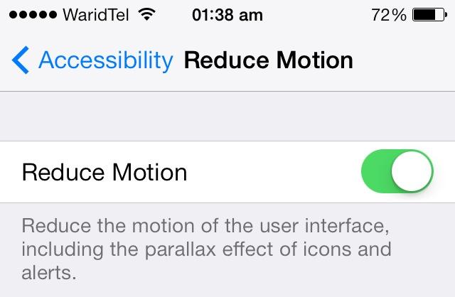 reduce motion settings iOS 7