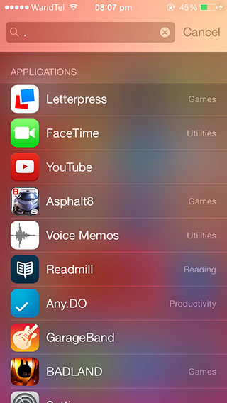 iOS 7 spotlight search apps