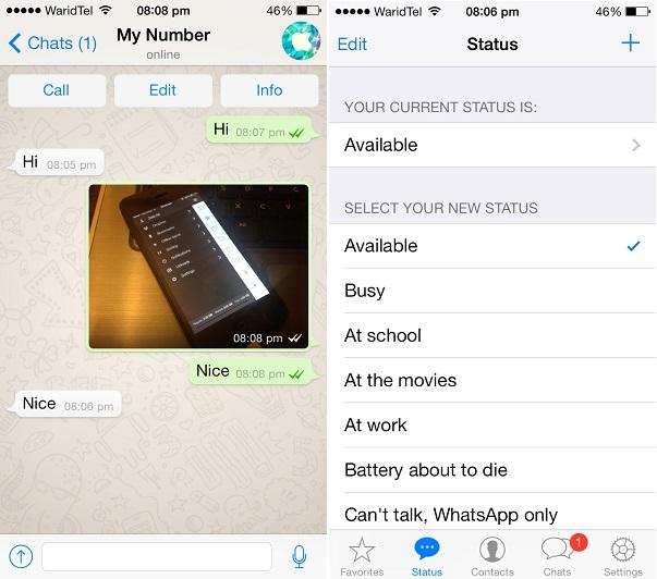 WhatsApp iOS 7 1