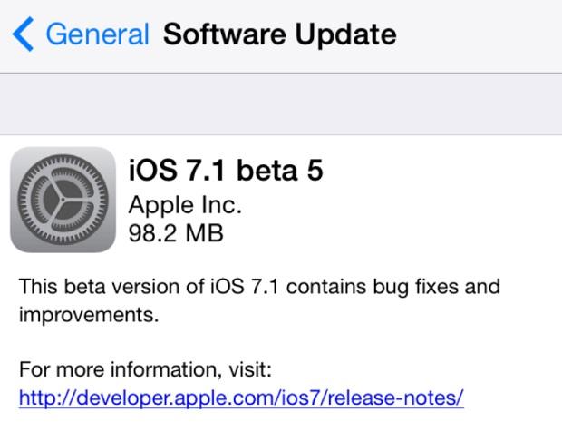 iOS 7.1 beta 5 release
