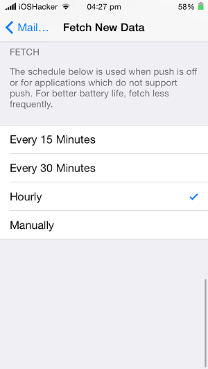 fetch email settings iOS