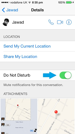 Do Not Disturb messages iOS 8