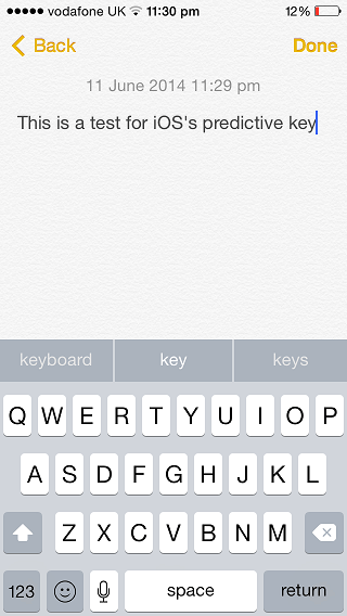 iOS 8 predictive keyboard
