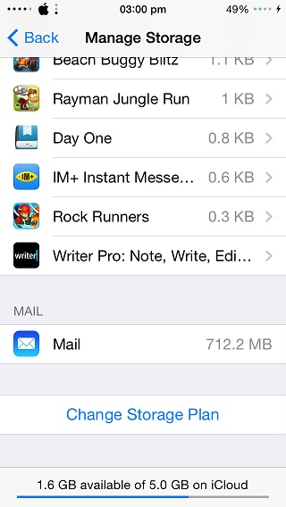 iCloud mail storage