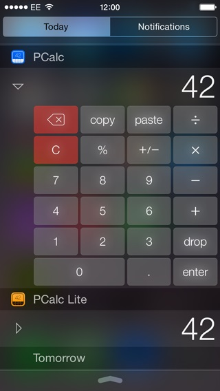 PCalc iOS 8 widget