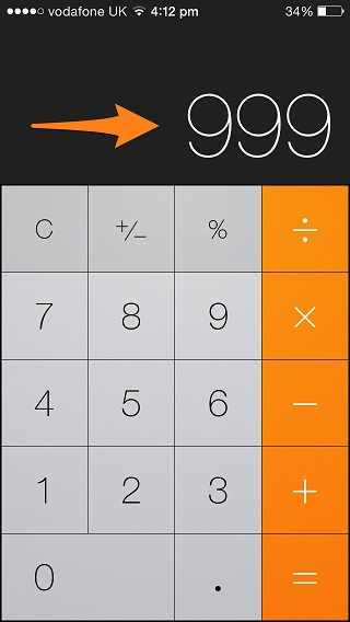 Calculator swipe gesture