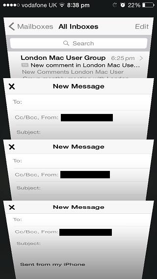 Mail app swipe tabs