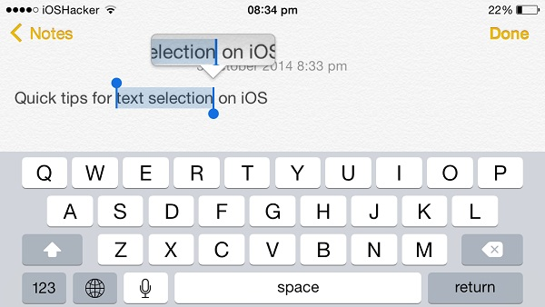 text selection shortcuts iOS