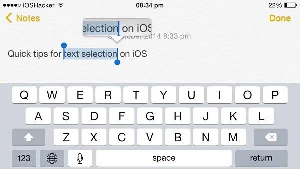 text selection shortcuts iOS