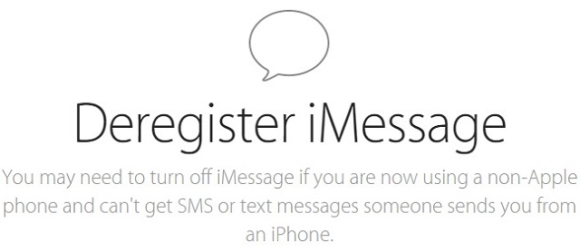 Deregister iMessage 1