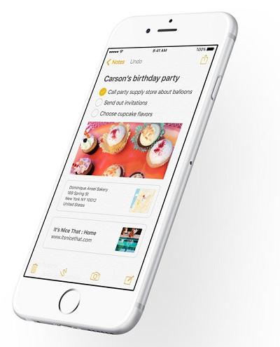Notes app iOS 9
